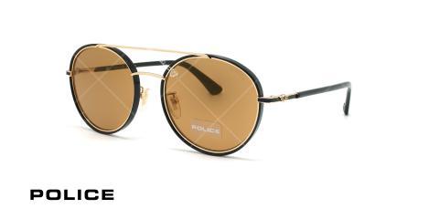 عینک آفتابی دوپل پلیس - POLICE COUPE1 SPL870G - مشکی طلایی- عکاسی وحدت - زاویه سه رخ
