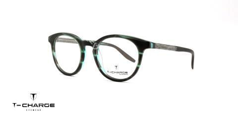 عینک طبی گرد تی شارژ - سبک - بدنه طوسی سبز - عکاسی وحدت - زاویه سه رخ