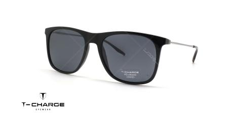 عینک آفتابی تی شارژ کائوچویی فلزی مشکی رنگ پولاریزه - زاویه سه رخ