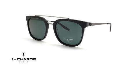 عینک آفتابی کائوچویی فلزی دو پل تی شارژ - پولاریزه - زاویه سه رخ
