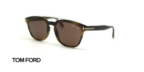 عینک آفتابی تام فورد کائوچویی با پل فلزی اضافه - سبز قهوه ای هاوانا - زاویه سه رخ