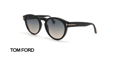 عینک آفتابی کائوچویی گرد مشکی رنگ تام فورد - زاویه سه رخ