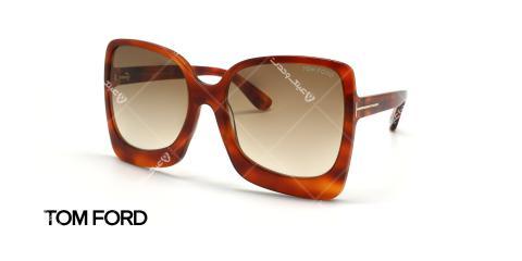 عینک آفتابی تام فورد زنانه - کائوچویی قهوه ای هاوانا - عکاسی وحدت - زاویه سه رخ