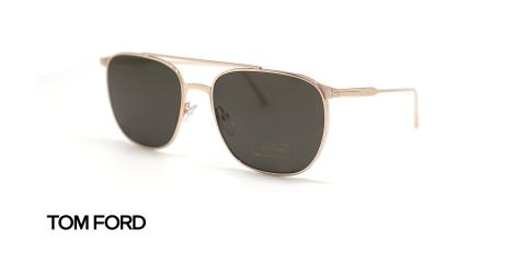 عینک آفتابی فلزی طلایی پلاستیک سبز - زاویه سه رخ