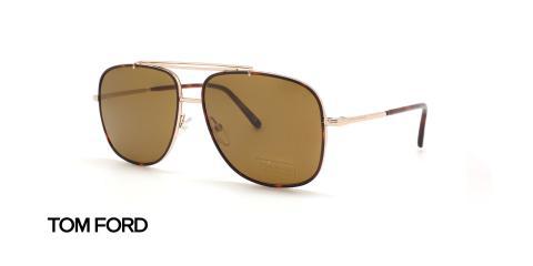 عینک آفتابی فلزی طلایی تام فورد - عکاسی عینک وحدت - زاویه سه رخ