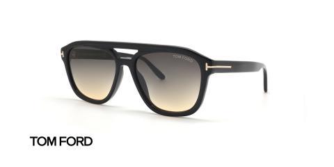 عینک آفتابی کائوچویی طرح شبه خلبانی تام فورد - بدنه مشکی - زاویه سه رخ