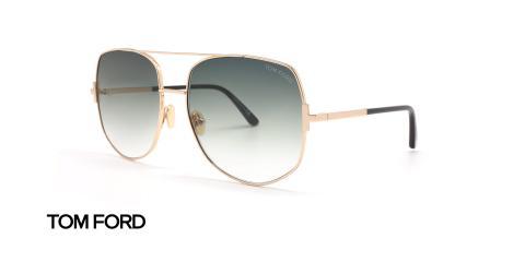 عینک آفتابی تام فورد فلزی بزرگ - بدنه طلایی شیشه سبز سایه روشن - زاویه سه رخ