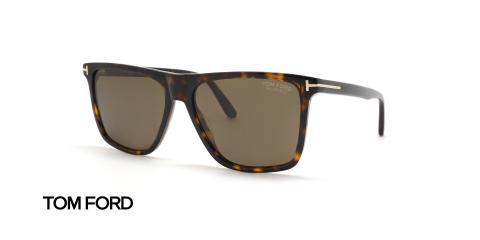 عینک آفتابی کائوچویی قهوه ای هاوانا پولاریزه تام فورد - عکاسی عینک وحدت - زاویه سه رخ