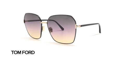 عینک آفتابی چند وجهی فلزی تام فورد - زاویه سه رخ