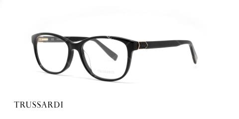 عینک طبی کائوچویی تروساردی - رنگ بدنه مشکی - عکاسی وحدت - زاویه سه رخ