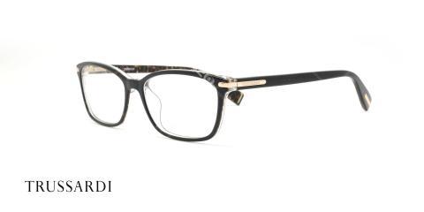 عینک طبی کائوچویی تروساردی - رنگ بدنه مشکی هاوانا - عکاسی وحدت - زاویه سه رخ
