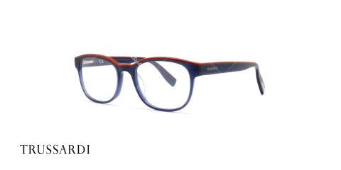 عینک طبی تروساردی فریم آبی کائوچویی VTR027 - عکاسی وحدت- زاویه سه رخ