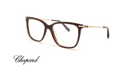 عینک طبی کائوچویی فلزی شوپارد- بدنه قهوه ای هاوانا دسته فلزی طلایی - زاویه سه رخ