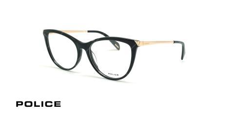 عینک طبی گربه ای پلیس - POLICE VPL842 GRACE1 - مشکی طلایی - عکاسی وحدت - زاویه سه رخ
