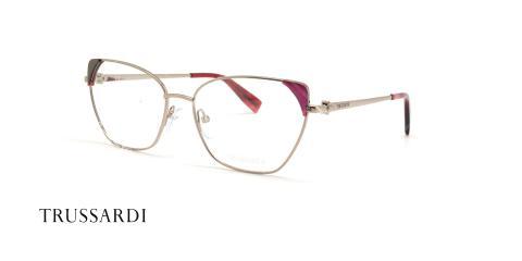عینک طبی فلزی طرح گربه ای - گوشه بالا قرمز رنگ - عکاسی عینک وحدت - زاویه سه رخ