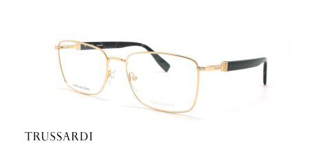 عینک طبی فلزی طلائی تروساردی - عکاسی وحدت - زاویه سه رخ