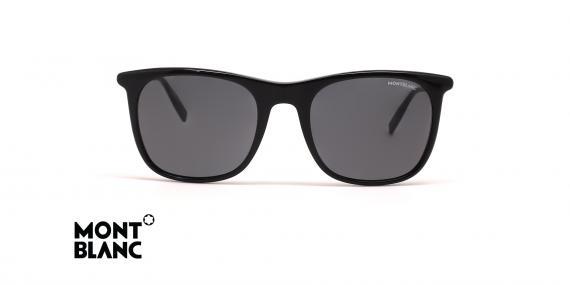 عینک آفتابی مون بلان - رنگ مشکی و عدسی دودی - عکس زاویه روبرو