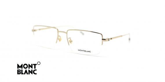 عینک طبی زیرگریف مون بلان - فلزی طلایی - عکاسی عینک وحدت - زاویه سه رخ