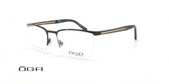 عینک طبی زیرگریف  اگا - OGA 10054O - مشکی قهوه ای - عکاسی وحدت - زاویه سه رخ