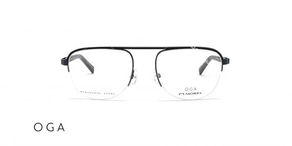 عینک طبی زیرگریف طرح خلبانی اگا - مشکی - عکاسی وحدت - زاویه روبرو