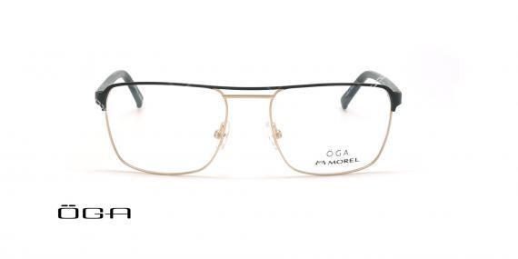 عینک طبی مربعی  اگا - OGA 10107O - مشکی طلایی - عکاسی وحدت - زاویه روبرو