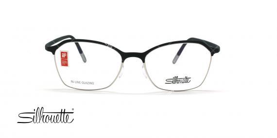 عینک طبی گربه ای سیلوئت - Silhouette1581 -مشکی نقره ای- عکاس وحدت - زاویه روبرو