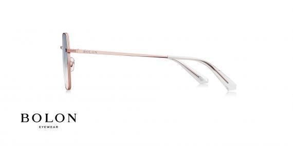 عینک آفتابی چند ضلعی بولون - BOLON BL7087 - رنگ طلایی  عدسی ابی - اپتیک وحدت - عکس زاویه کنار