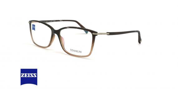 عینک طبی تیتانیوم زایس ZEISS ZS10016 - قهوه ای طیفدار - عکاسی وحدت - زاویه سه رخ