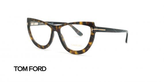 عینک طبی گربه ای تام فورد - TOM FORD TF5519 - قهوه ای هاوانا - عکاسی وحدت - زاویه سه رخ