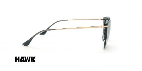 عینک آفتابی گربه ای هاوک - HAWK HW1611 - مشکی طلایی - عکاسی وحدت - زاویه کنار