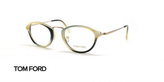 عینک طبی بیضی تام فورد - TOM FORD TF5321 - مشکی کرم - عکاسی وحدت - زاویه سه رخ