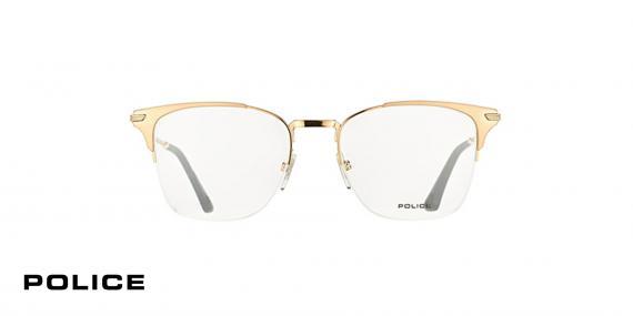 عینک طبی زیرگریف پلیس - رنگ طلایی - اپتیک وحدت - عکس از زاویه روبرو