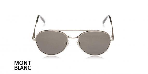 عینک آفتابی گرد دوپل مون بلان - MONTBLANC MB605 - فریم نقره ای و عدسی مشکی - اپتیک وحدت - عکس زاویه روبرو
