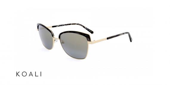 عینک آفتابی کوالی - مدل گربه ای - بدنه مشکی طرح دار و طلایی - زاویه سه رخ
