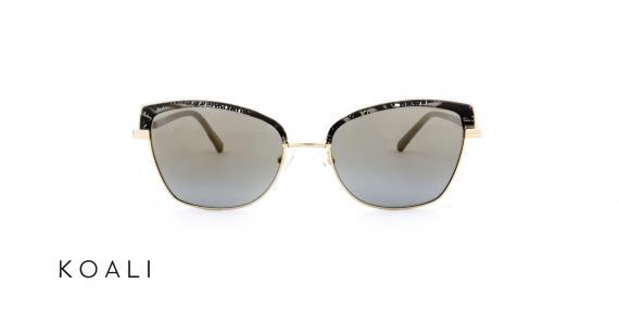عینک آفتابی کوالی - مدل گربه ای - بدنه مشکی طرح دار و طلایی - زاویه روبرو