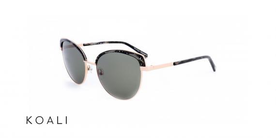 عینک آفتابی کوالی مشکی طلایی - زاویه سه رخ