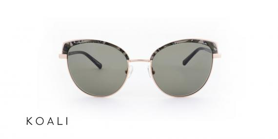 عینک آفتابی کوالی مشکی طلایی - زاویه روبرو