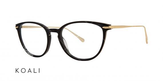 عینک طبی گربه ای کوالی - KOALI 20048K -رنگ طلایی مشکی - اپتیک وحدت - عکس زاویه سه رخ