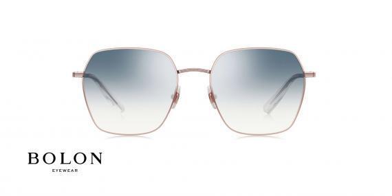 عینک آفتابی چند ضلعی بولون - BOLON BL7087 - رنگ طلایی  عدسی ابی - اپتیک وحدت - عکس زاویه روبرو