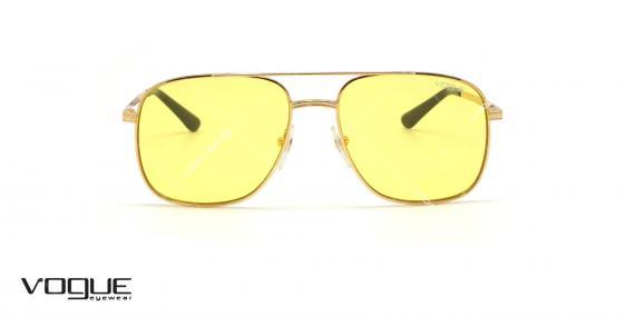 عینک آفتابی دوپل وگ - VOGUE VO4083S - فریم طلایی وشیشه زرد - عکاسی وحدت - عکس زاویه روبرو