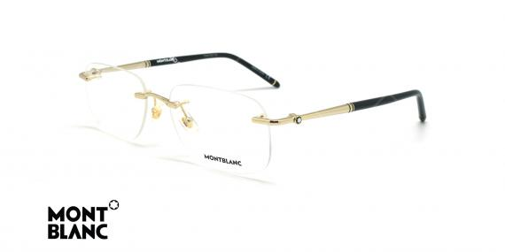 عینک طبی گریف مون بلان - MONTBLANC MB0071O - طلایی مشکی - عکاسی وحدت - زاویه سه رخ
