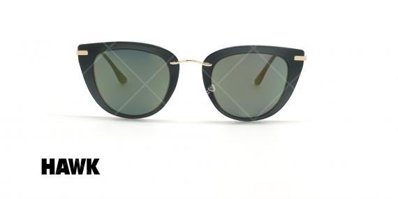 عینک آفتابی گربه ای هاوک - HAWK HW1611 - مشکی طلایی - عکاسی وحدت - زاویه روبرو