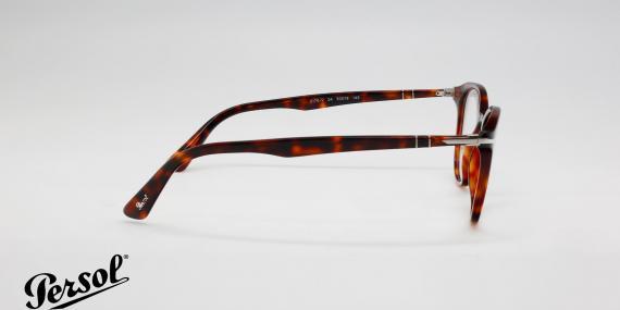 عینک طبی پرسول بیضی شکل - قهوه ای هاوانا - زاویه کنار