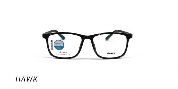 عینک طبی هاوک با رویه آفتابی - HAWK HW7232 - رنگ مشکی-عکس وحدت اپتیک - عکس زاویه روبرو