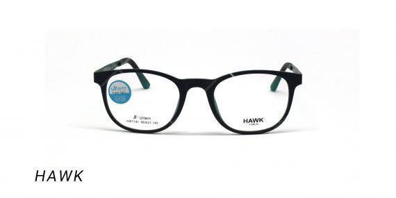عینک طبی هاوک با رویه آفتابی - HAWK HW7191- رنگ فریم سبز تیره - عکس اپتیک وحدت - عکس از زاویه روبرو