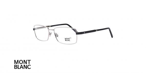 عینک طبی مستطیلی مون بلان - MONTBLAC MB633- فریم نقره ای - اپتیک وحدت - عکس زاویه سه رخ