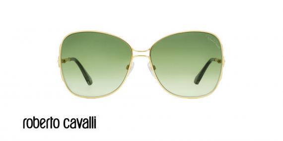 عینک آفتابی پروانه ای زنانه روبرتو کاوالی -  ROBERTO CAVALLI RC1060- رنگ طلایی و عدسی سبز -اپتیک وحدت - عکس زاویه روبرو