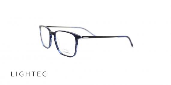 عینک طبی Lightec - دسته فلزی بدنه کائوچویی - زاویه سه رخ