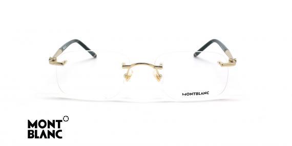 عینک طبی گریف مون بلان - MONTBLANC MB0071O - طلایی مشکی - عکاسی وحدت - زاویه روبرو