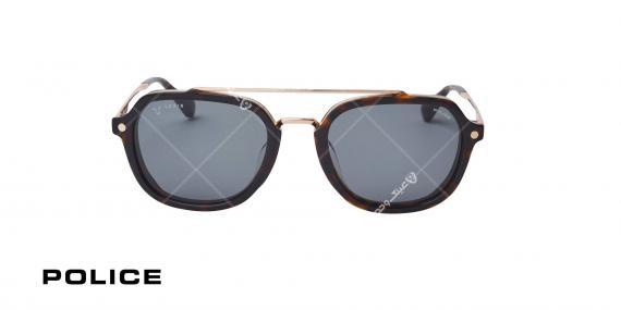 عینک آفتابی مربعی پلیس POLICE LEWIS05 SPLA26 - هاوانا تیره طلایی - عکاسی وحدت - زاویه روبرو